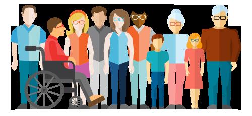groupe de gens avec lunettes